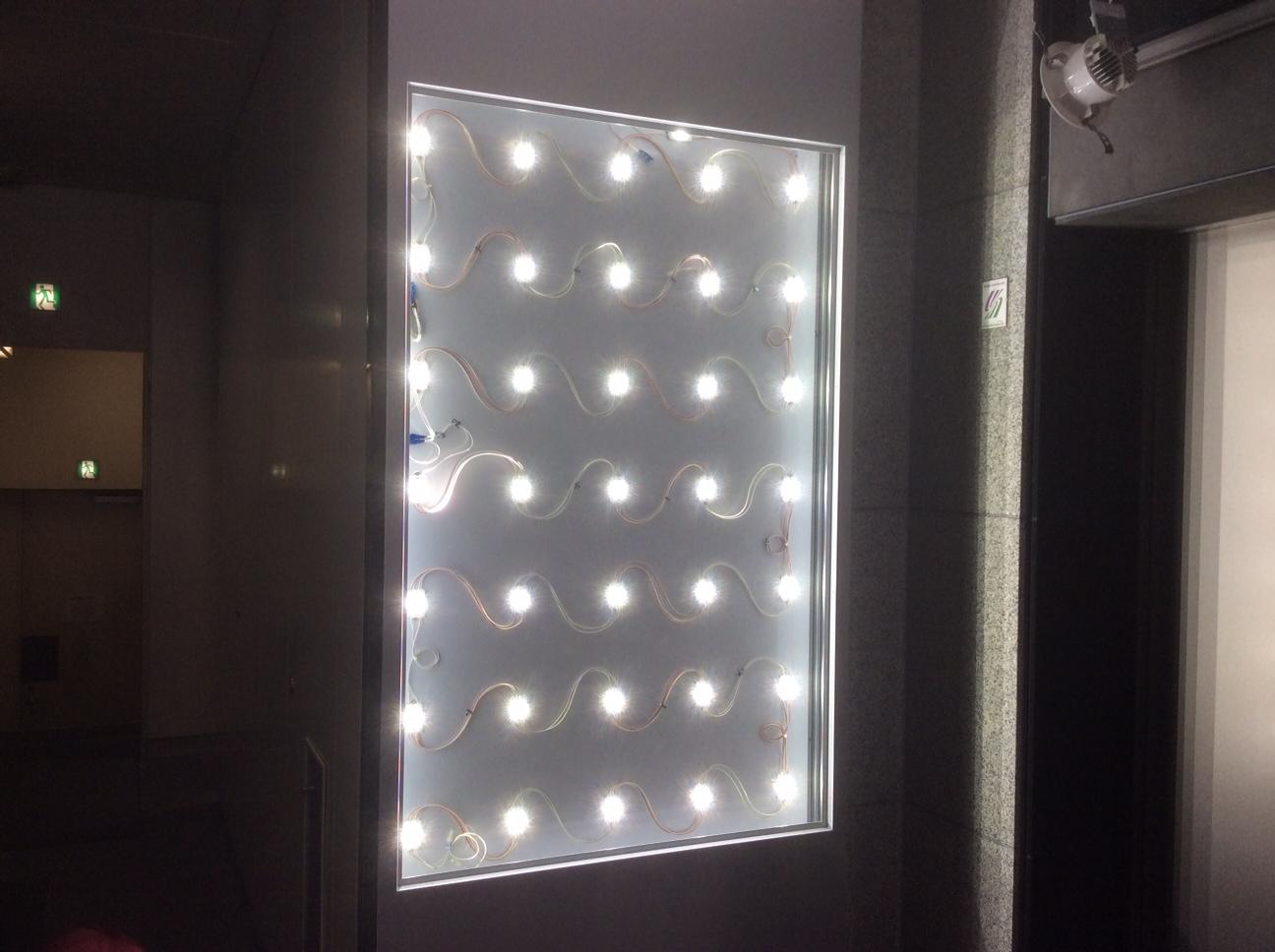 清水建設様 菱進銀座イーストミラービル 壁面サインLED点灯チェック